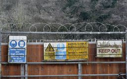Warning and Keep Out Signs. View of Generic Warning and Keep Out Signs at a Construction Site Entrance Stock Images