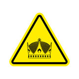 Warning king. royal Crown of yellow triangle. Road sign attentio Royalty Free Stock Photography