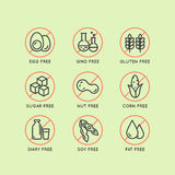 Warning Label Icons. Allergens Gluten, Lactose, Soy, Corn, Diary, Milk, Sugar, Trans Fat. Vegetarian and Organic symbols. Food Int. Isolated Vector Style Stock Photos