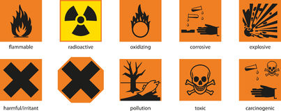 Warning labels. On the products stock illustration