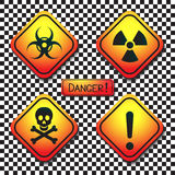 Warning labels - biohazard, radiation, poison, dan Stock Photography