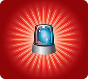 Warning light. Bright red warning light police on the ground Royalty Free Stock Photos