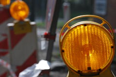 Warning light. Blinking light at a construction zone Royalty Free Stock Photography