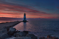 Warning. Lighthouse on the pier at Port Dalhousie Ontario royalty free stock photo