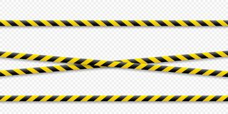 Warning lines. Caution it is dangerous to health. Warning barricade tape, yellow-black, on an isolated background. Vector. Warning lines. Caution it is stock illustration