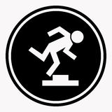 Warning logo sign with stumbling person because of doorstep Stock Images