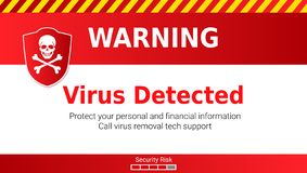 Warning of Malware attack, virus detected. Skull and crossed bones on red shield. Message requiring your attention. Concept of interface cyber security. Vector stock illustration