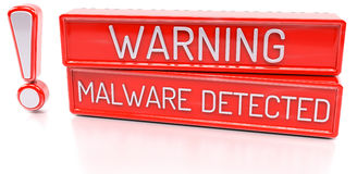 Warning Malware Detected - 3d banner,  on white backgrou. Warning Malware Detected - red 3d banner,  on white background Royalty Free Stock Photos