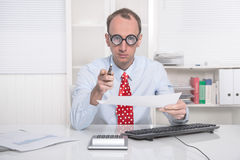 Warning manager or businessman - unsympathetic boss Royalty Free Stock Photo