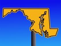 Warning Maryland sign. Warning sign in shape of Maryland on blue illustration Stock Photography