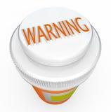 WARNING - Medizin-Flaschenkapsel warnt von der Gefahr stock abbildung