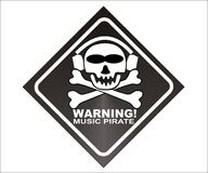 WARNING! music pirate -  Stock Photography