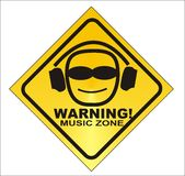 WARNING! music zone -  Stock Image