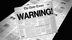Warning! - Newspaper Headline (Intro + Loops) stock video
