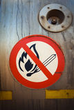 Warning no fire. Warning sign no fire light  metallic metals flammable flames dangerous Royalty Free Stock Photography