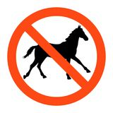 No  horse sign ,vector illustratioon on white background. Warning no  horse sign ,vector illustratioon on white background Stock Photo