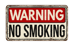 Warning no smoking zone vintage metal sign Stock Photo