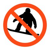 No snowboard sign ,vector illustratioon on white background. Warning no snowboard sign ,vector illustratioon on white background Stock Photography