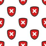 Warning Not Authorized Seamless Pattern. A seamless pattern with a black and red warning or not authorized flat shield icon, isolated on white background. Useful stock illustration