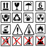 Warning of packaging symbol Royalty Free Stock Images