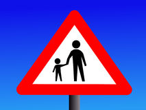 Warning pedestrians sign. Warning pedestrians on road sign illustration Royalty Free Stock Images