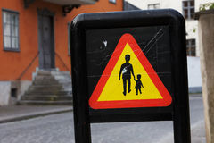 Warning for pedestrians Royalty Free Stock Photos