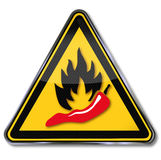 Warning pepperoni, hot and spicy food Stock Images