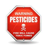 Warning Pesticide Danger. Illustration of a warning sign, with skull and crossbones, about pesticides danger Stock Photography