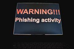 Warning !!! phishing activity Stock Photo