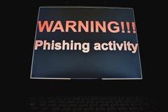 Warning !!! phishing activity stock photo
