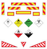 Warning plates. Large goods vehicle rear markings and warning plates Stock Images