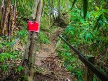 Warning post in Khao Luang mountain in Ramkhamhaeng National Park royalty free stock image