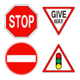 Warning and prohibition traffic signs Stock Images