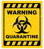 Warning quarantine sign. Grunge yellow and black sign with warning quarantine text graphics royalty free illustration