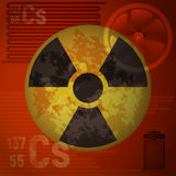 Warning radiation hazard. Molecule of cesium 137. The pattern of nuclear contamination. Warning radiation hazard vector illustration. Molecule of cesium 137 on Stock Images