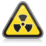 Warning radiation hazard sign. Yellow triangular warning sign of radiation hazards Royalty Free Stock Photography