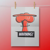 Warning red poster like nuclear explosion or. Mushroom cloud illustration on a white folded sheet and rope with clothespins. Vector concept vector illustration