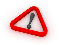 Warning Red Triangular Sign 3D. Red triangular warning sign over white background Royalty Free Stock Images