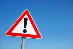 Warning road sign Stock Photos
