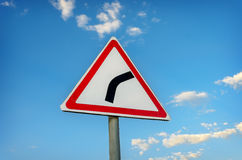 Warning road sign Royalty Free Stock Photography