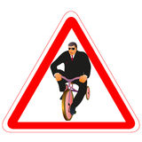 Warning road sign with businessman and little bike Royalty Free Stock Photo