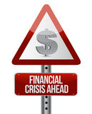 Warning road sign with a financial crisis concept Stock Image