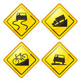 Warning Road Sign Glossy Royalty Free Stock Images