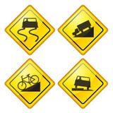 Warning Road Sign Glossy. Set of warning Road Sign Glossy Royalty Free Stock Images