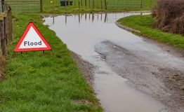 A flood warning road sign beside a flooded road Stock Photo