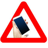 Warning road sign isolated on white 3d cell phone sign Royalty Free Stock Photo