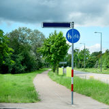 Warning road sign. On the road for pedestrians and cyclists Royalty Free Stock Photography