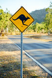 Warning road sign showing a kangaroo shape Stock Image