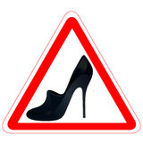Warning road sign with woman`s shoe. Warning road sign with black woman`s shoe stock illustration