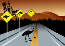 Warning road signs for Australia animals Stock Images